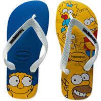 Slapi Simpsons Family Kids Flip Flops In White Multicolour Baieti