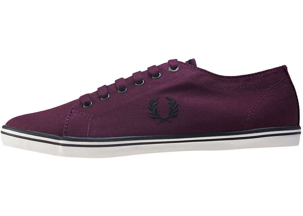 Fred Perry Kingston Twill Unisex Trainers In Red Mahogany Red