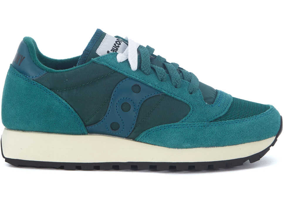 Saucony Sneaker Vintage Jazz Model In Suede And Green Fabric Blue