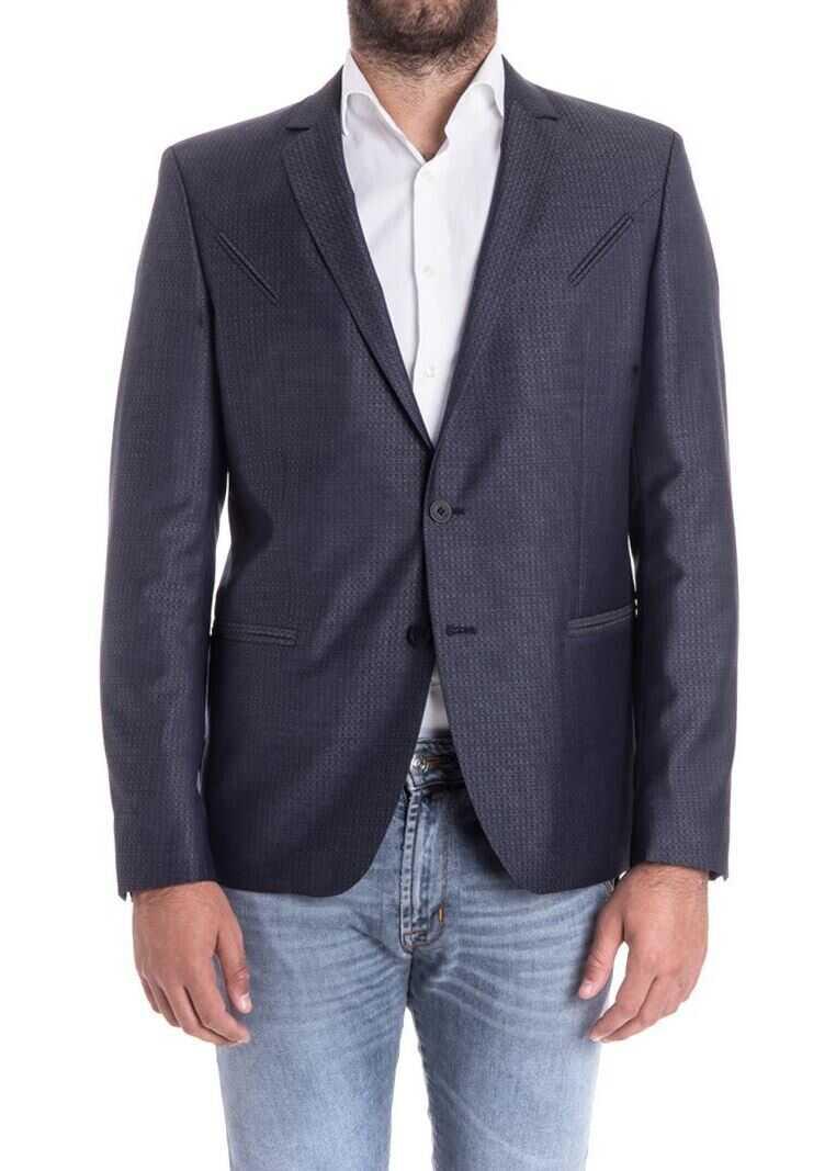 Karl Lagerfeld Wool And Silk Jacket Blue imagine