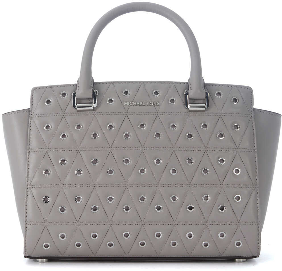 Michael Kors Selma Grey Quilted Leather Handbag With Studs Grey
