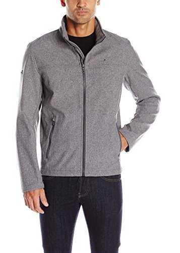 Tommy Hilfiger Mens Soft-Shell Classic Zip-Front Jacket Heather Grey