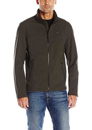 Tommy Hilfiger Mens Soft-Shell Classic Zip-Front Jacket Heather Olive