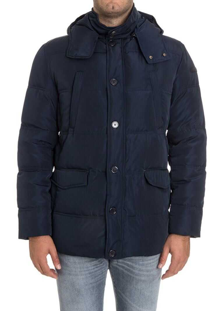 Trussardi Hooded Down Jacket* Blue