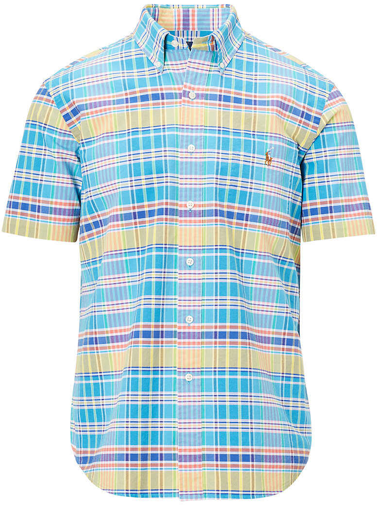 Ralph Lauren Classic Fit Plaid Cotton Shirt* Ocean/racing Yellow Mult
