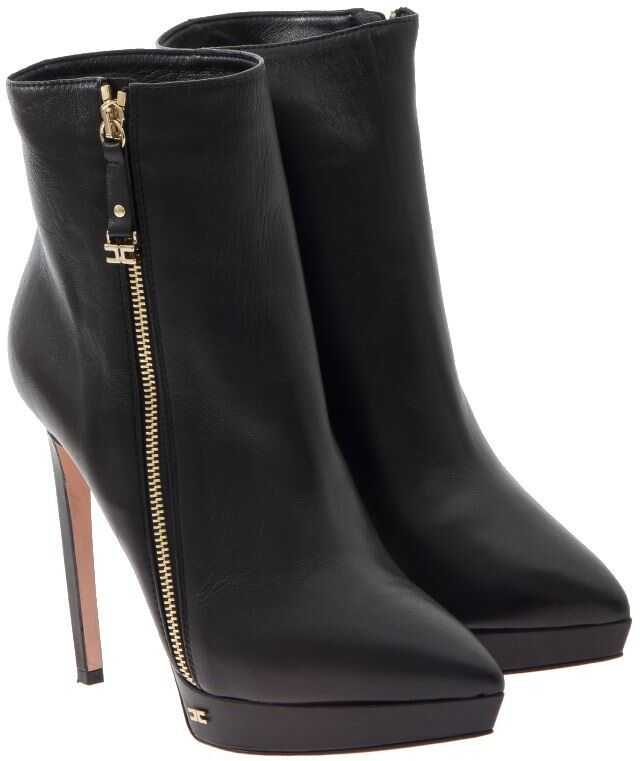 Elisabetta Franchi Leather Ankle Boots Black