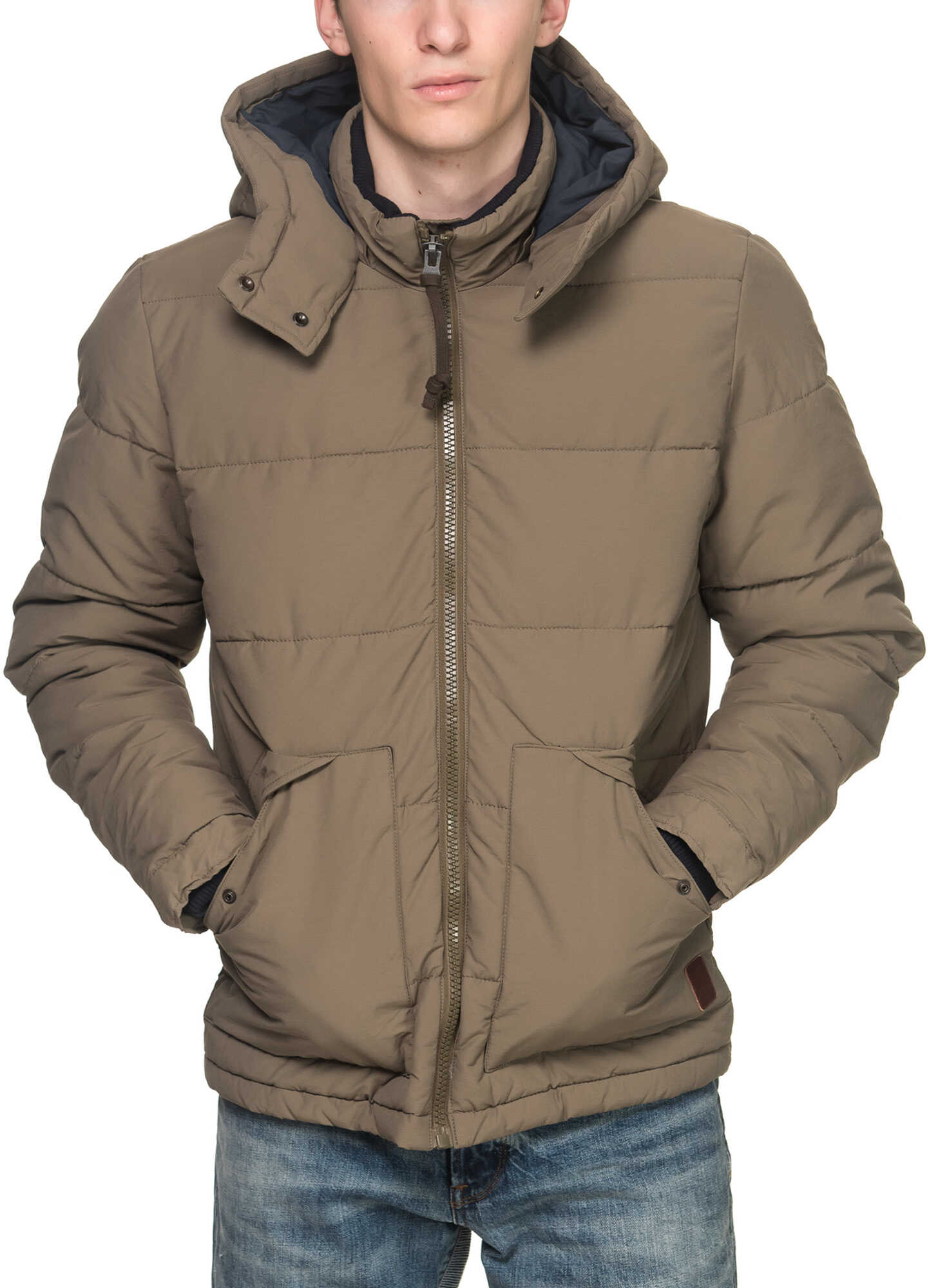JACK & JONES Coast Puffer Men's Jacket In Beige Sea Turtle