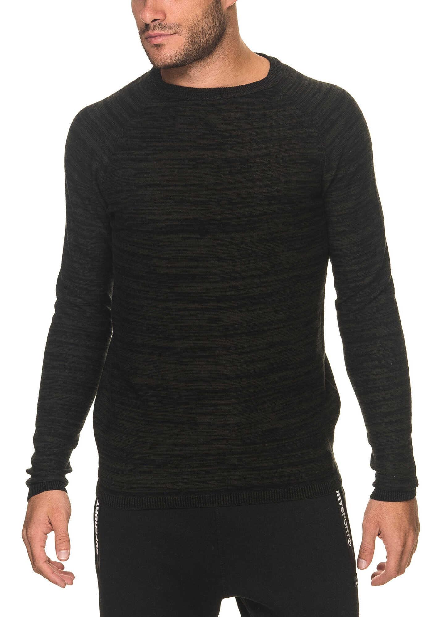 JACK & JONES Smash Mens Black Melange Sweater Rosin