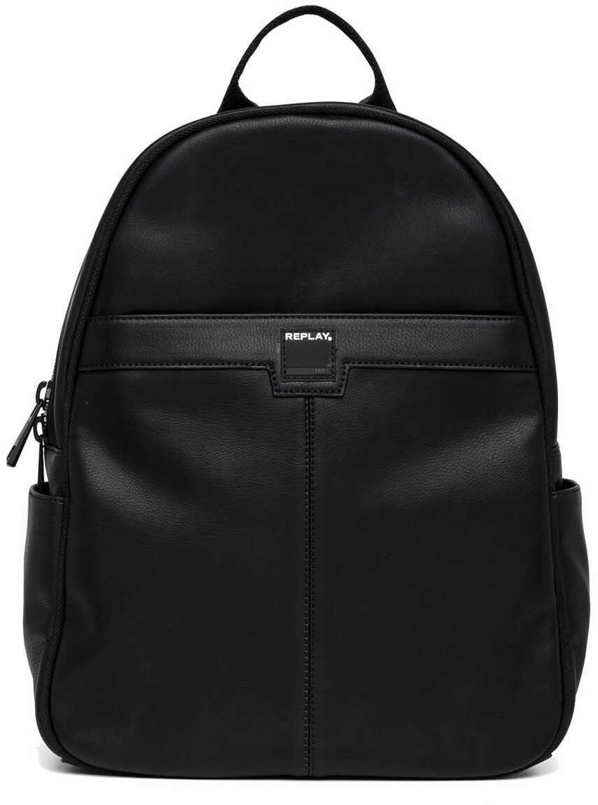 Replay Mens Eco Leather Black Backpack Black