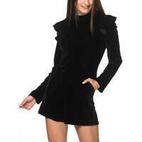 Salopete Women's Black Velvet Playsuit Femei
