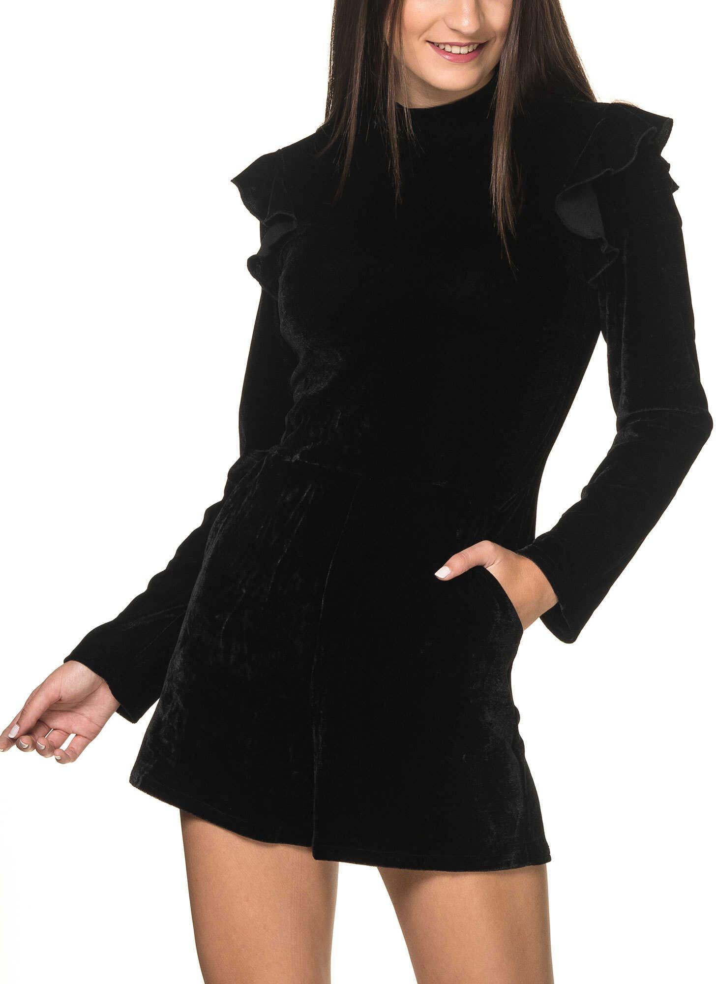 Glamorous Women`s Black Velvet Playsuit Black