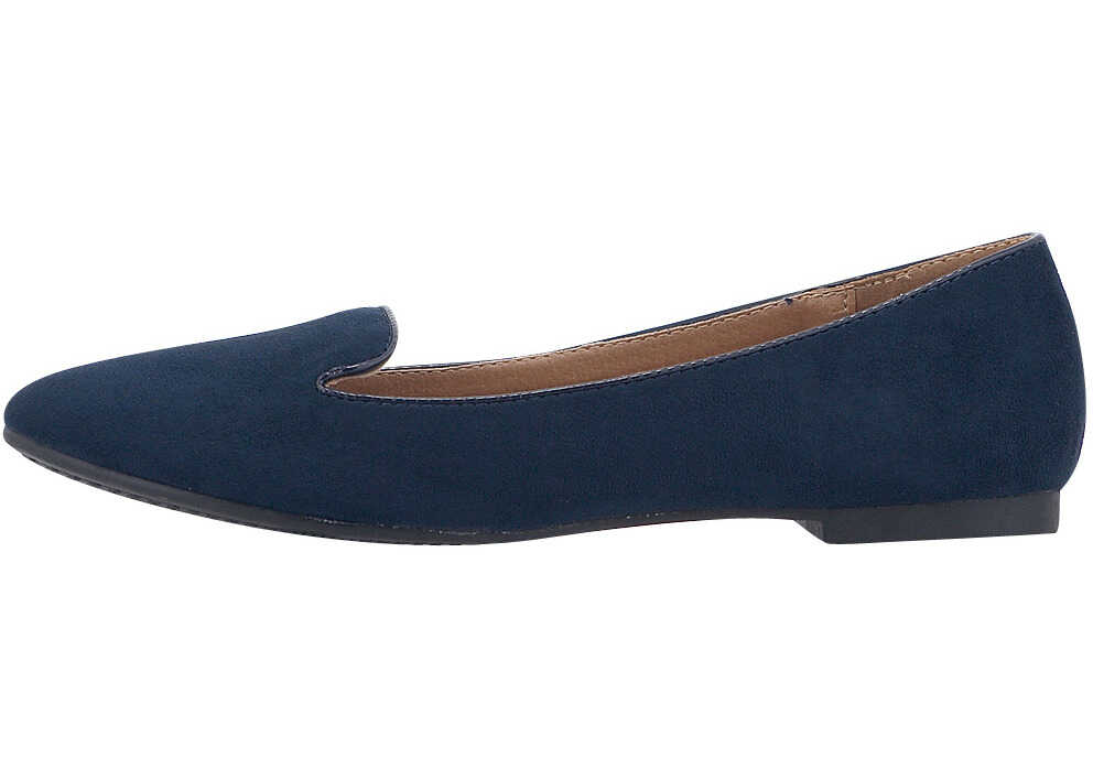 Louvel Womens Suede Ballerinas In Blue Blue