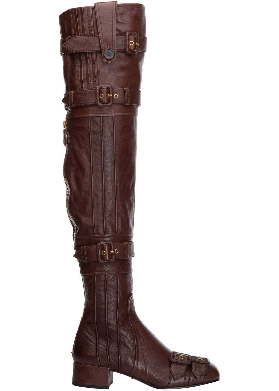 Prada Heel Boots 1W058I_3ACM_F0324_F_035 Brown imagine b-mall.ro