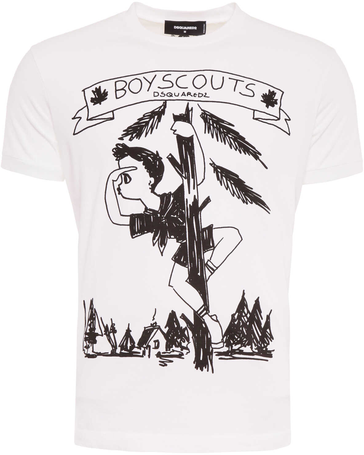 DSQUARED2 Boy Scouts Print T-Shirt BIANCO