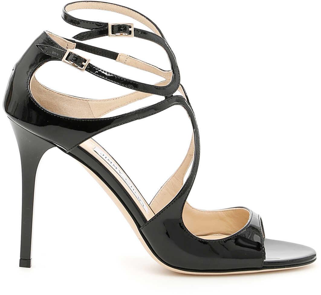 Jimmy Choo Lang Patent Sandals BLACK