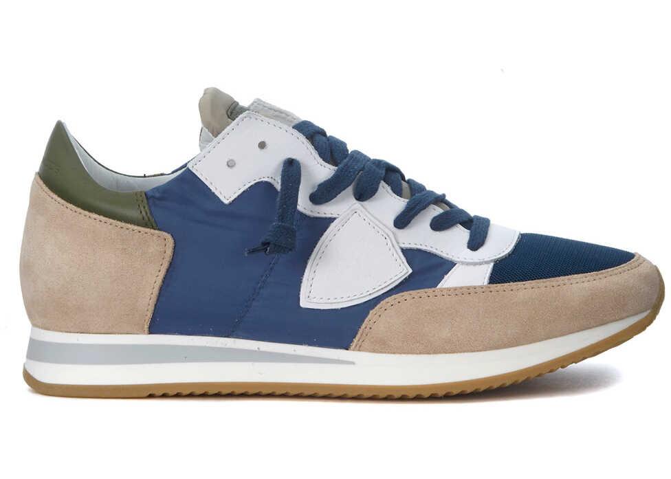 Philippe Model Tropez Mondial Beige And Blue Sneaker Blue
