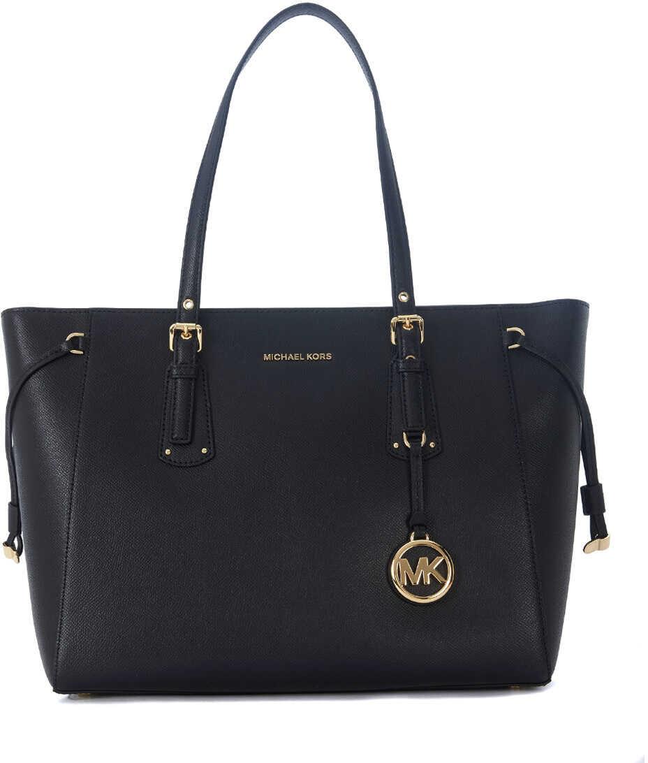 Michael Kors Voyager Black Leather Shopping Bag Black