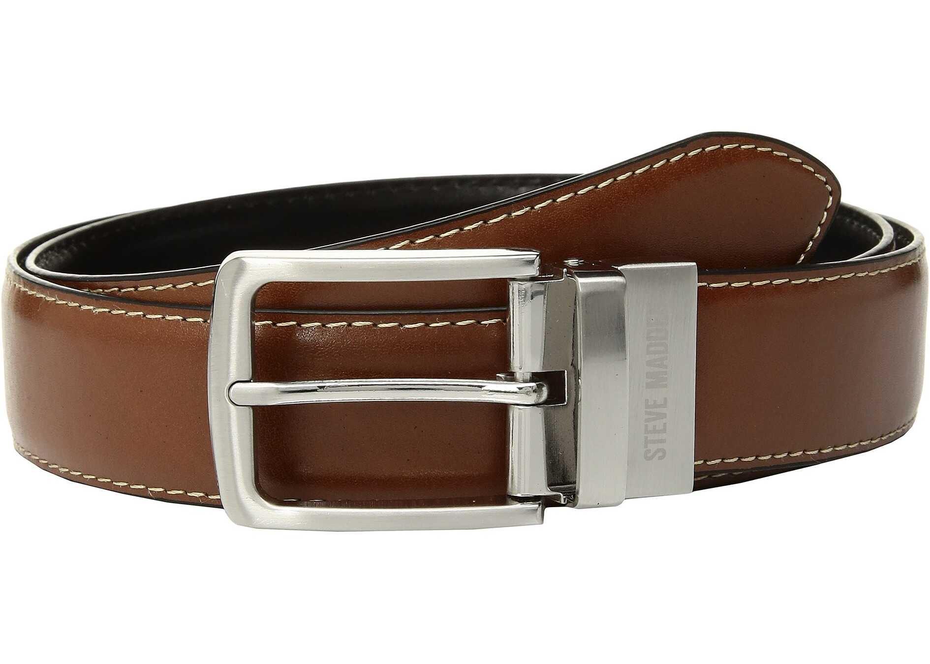 Steve Madden 35mm Casual Reversible Belt Cognac/Black