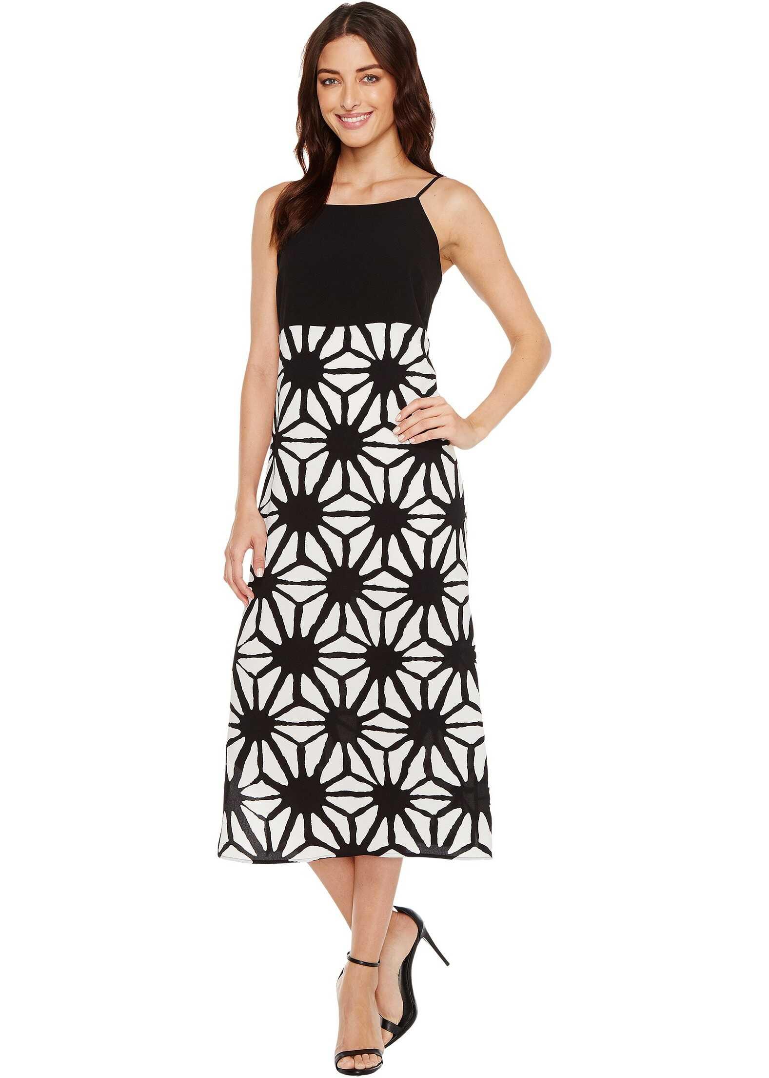Vince Camuto Tribal Starlight Maxi Dress w/ Side Slits Rich Black