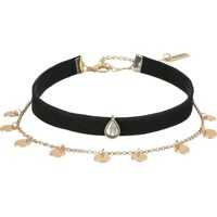 Coliere Disc Chain Suede Choker Necklace Femei