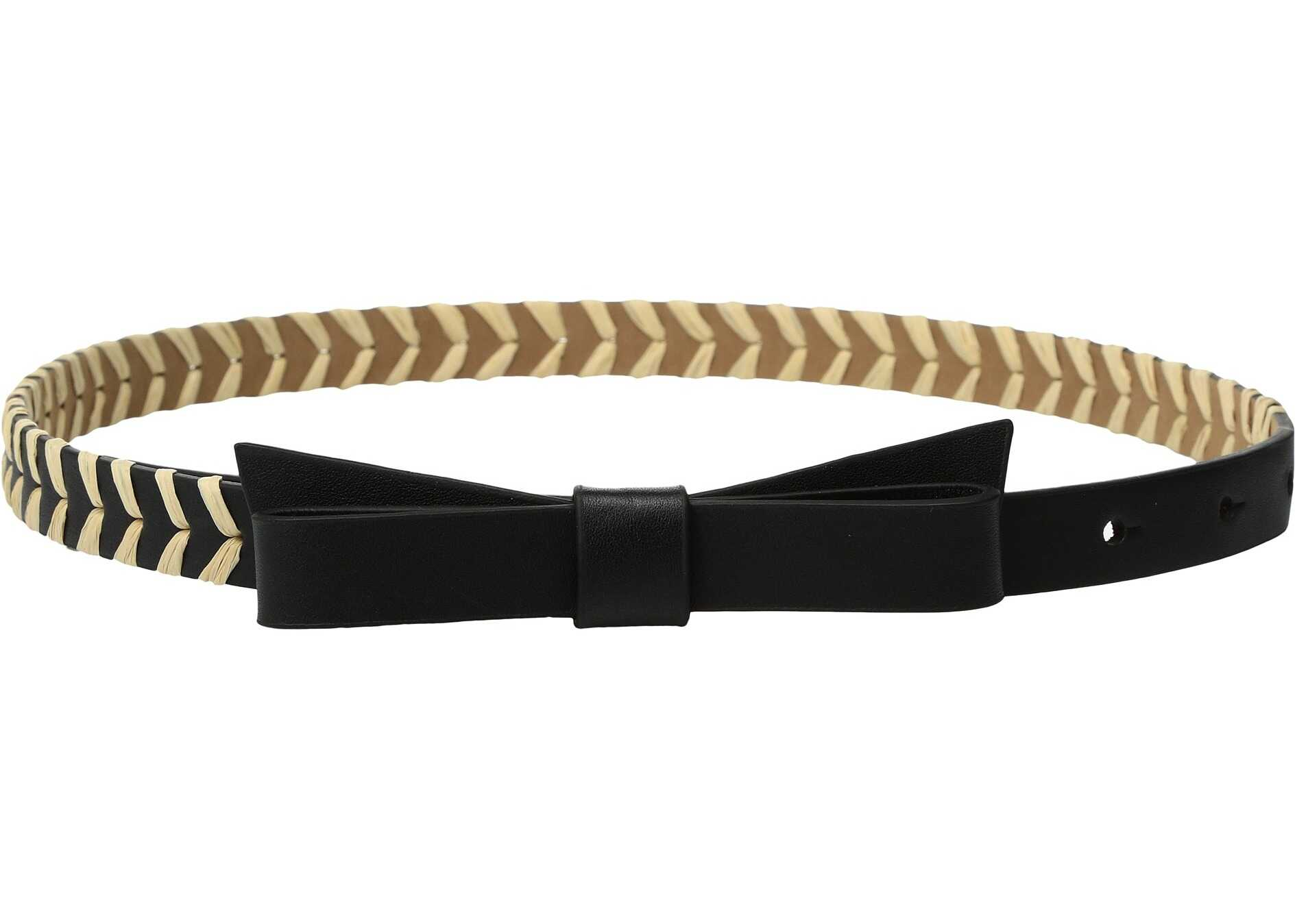 Kate Spade New York 5/8 Calf Bow Belt w/ Straw Detail Black/Natural