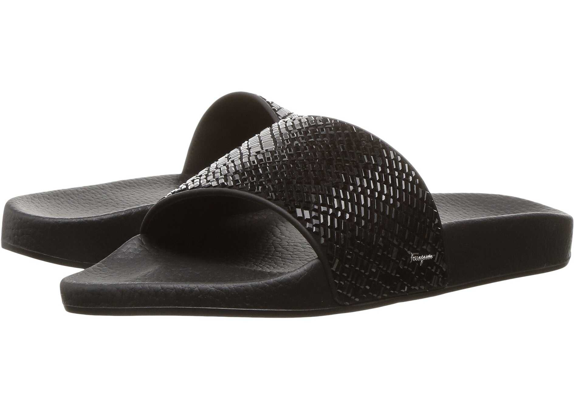 Salvatore Ferragamo PVC Pool Slide With Crystals Jet Black