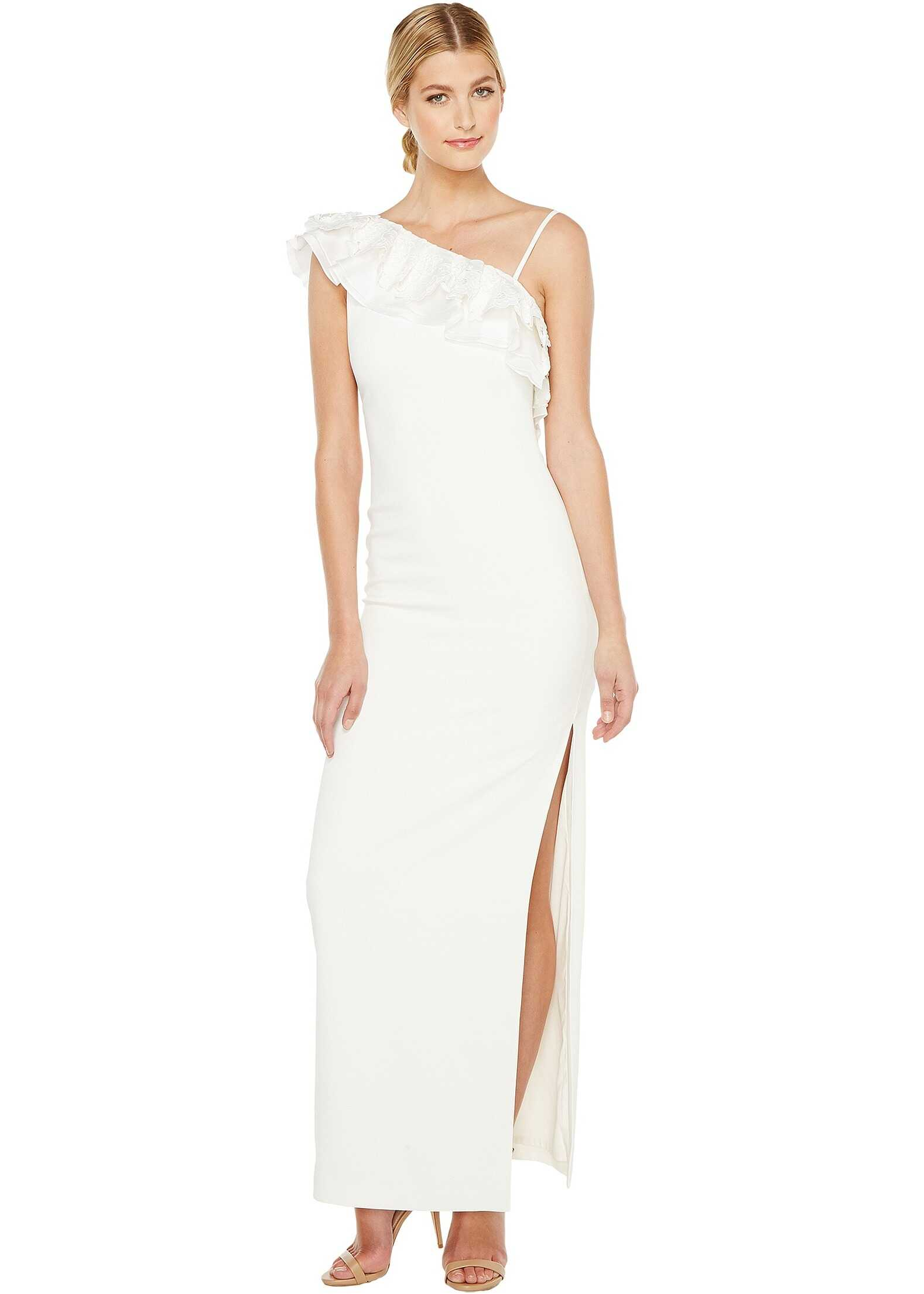 Badgley Mischka Asymmetrical Lace Trimmed Gown Light Ivory