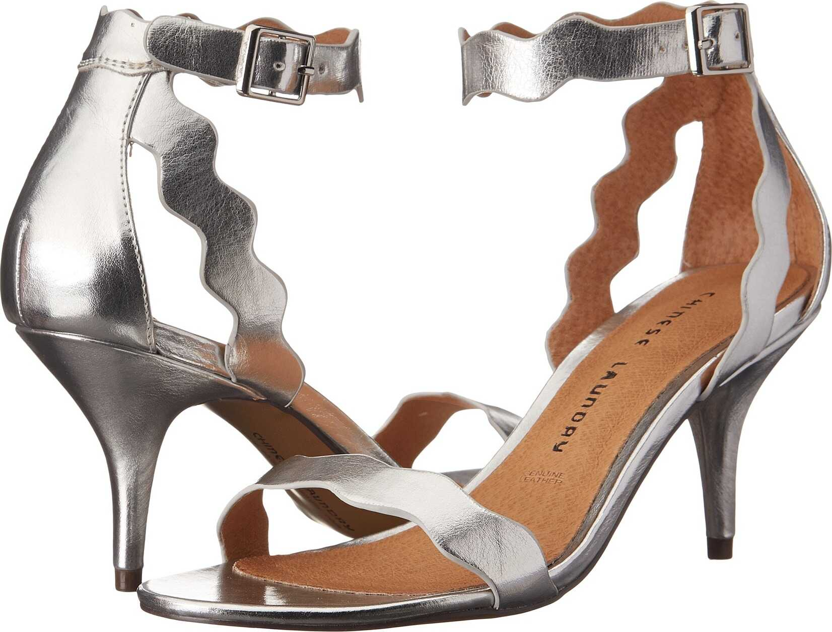 Chinese Laundry Rubie Scalloped Sandal Silver Metallic
