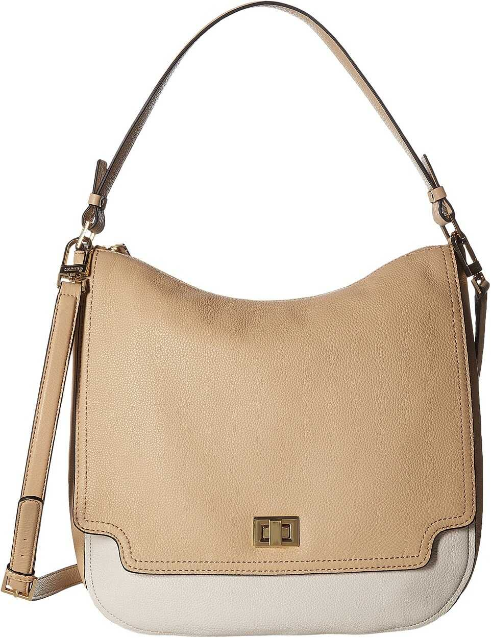 Calvin Klein Ashley Pebble Hobo White/Nude