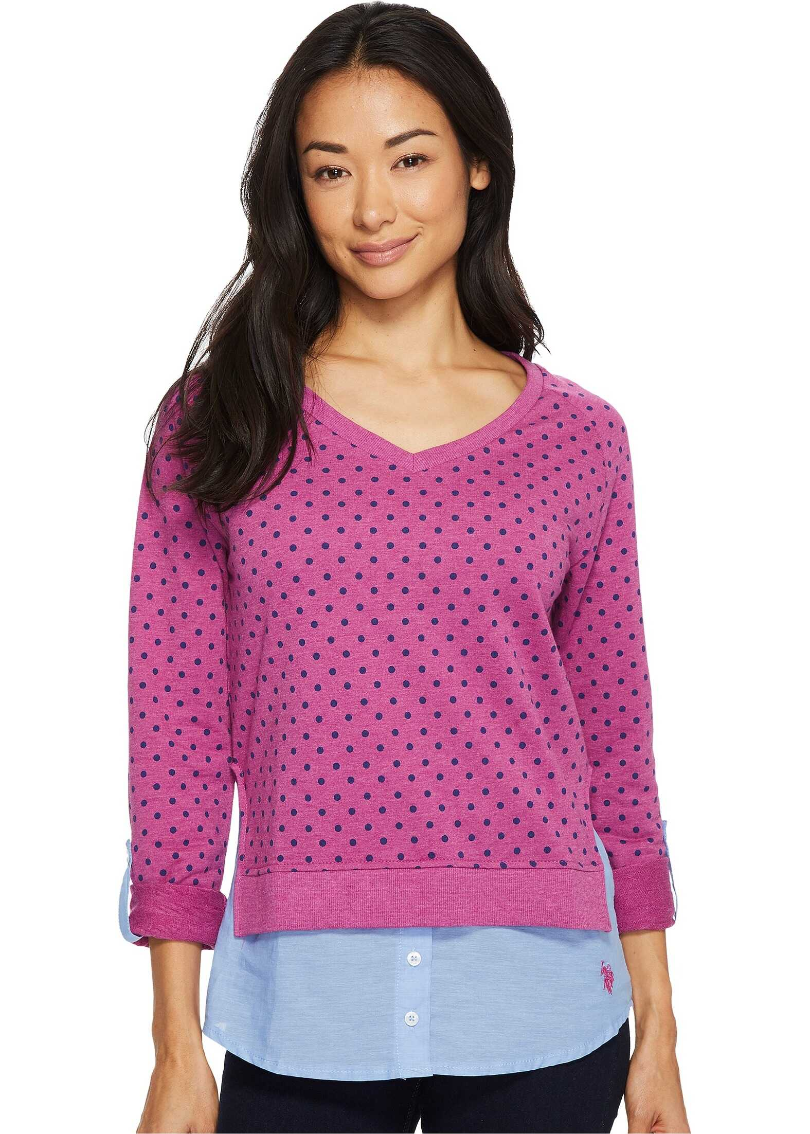 U.S. POLO ASSN. Polka Dot French Terry and Woven Twofer Top Rococo Violet