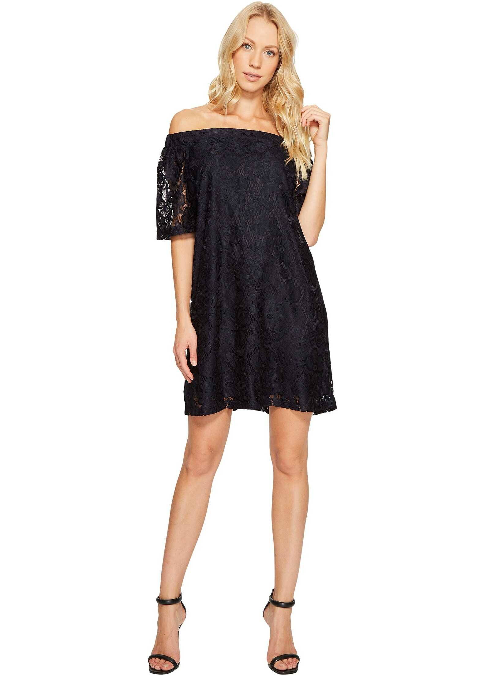 Donna Morgan Off the Shoulder Short Sleeve Knit Lace Shift Dress Marine Navy