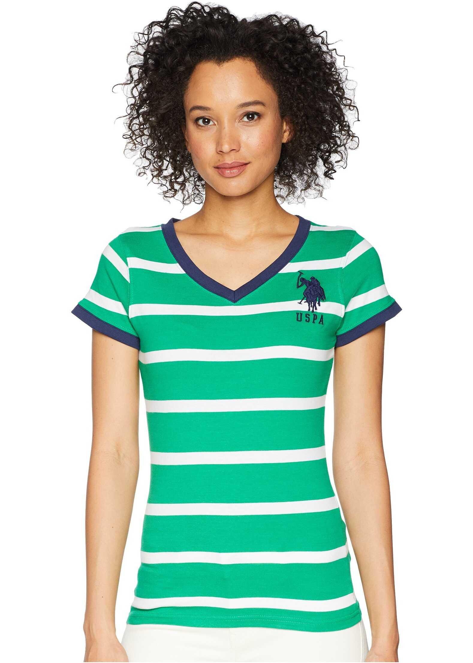 U.S. POLO ASSN. Short Sleeve Striped V-Neck T-Shirt Ivy Green