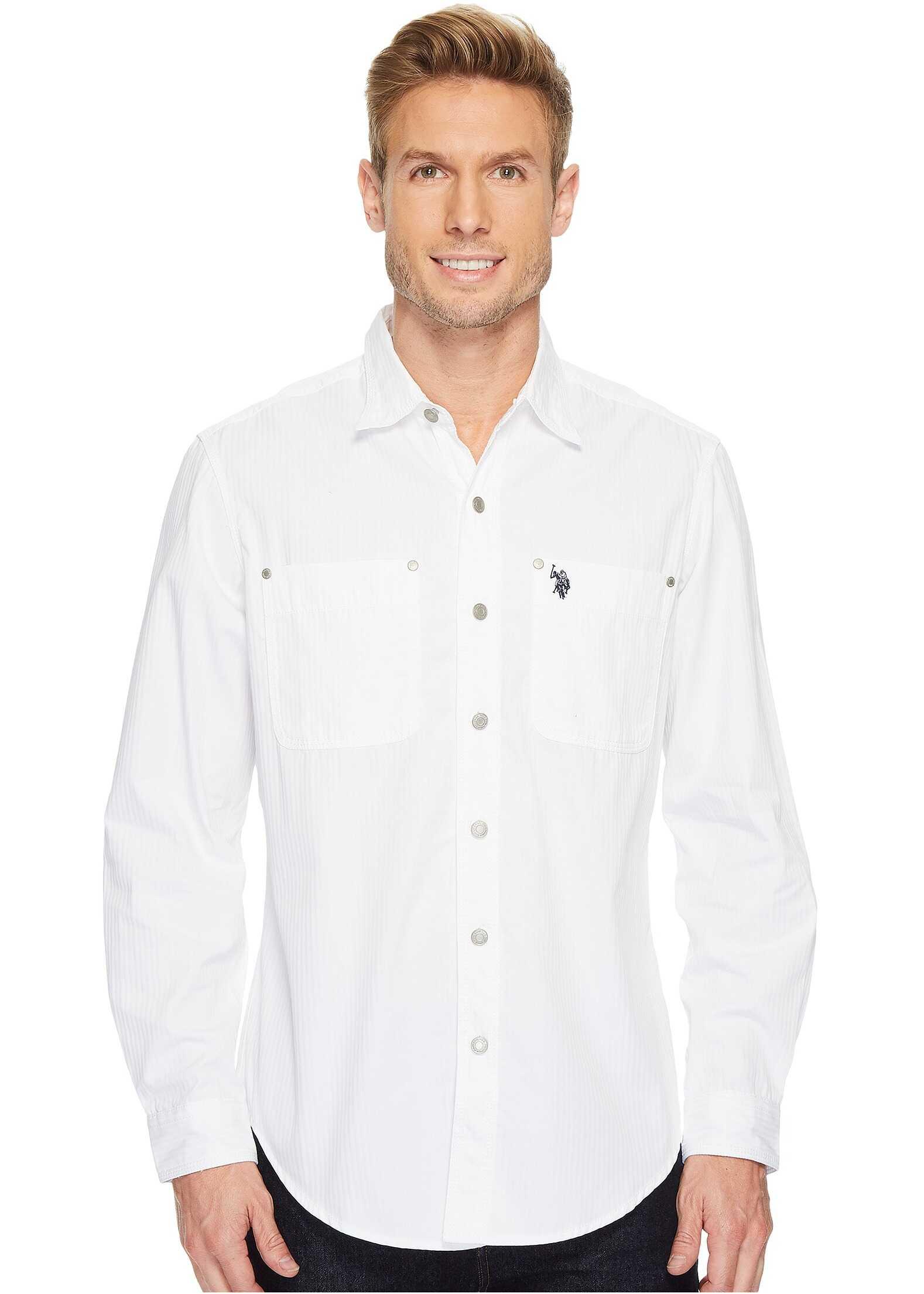 U.S. POLO ASSN. Long Sleeve Dobby Sport Shirt White