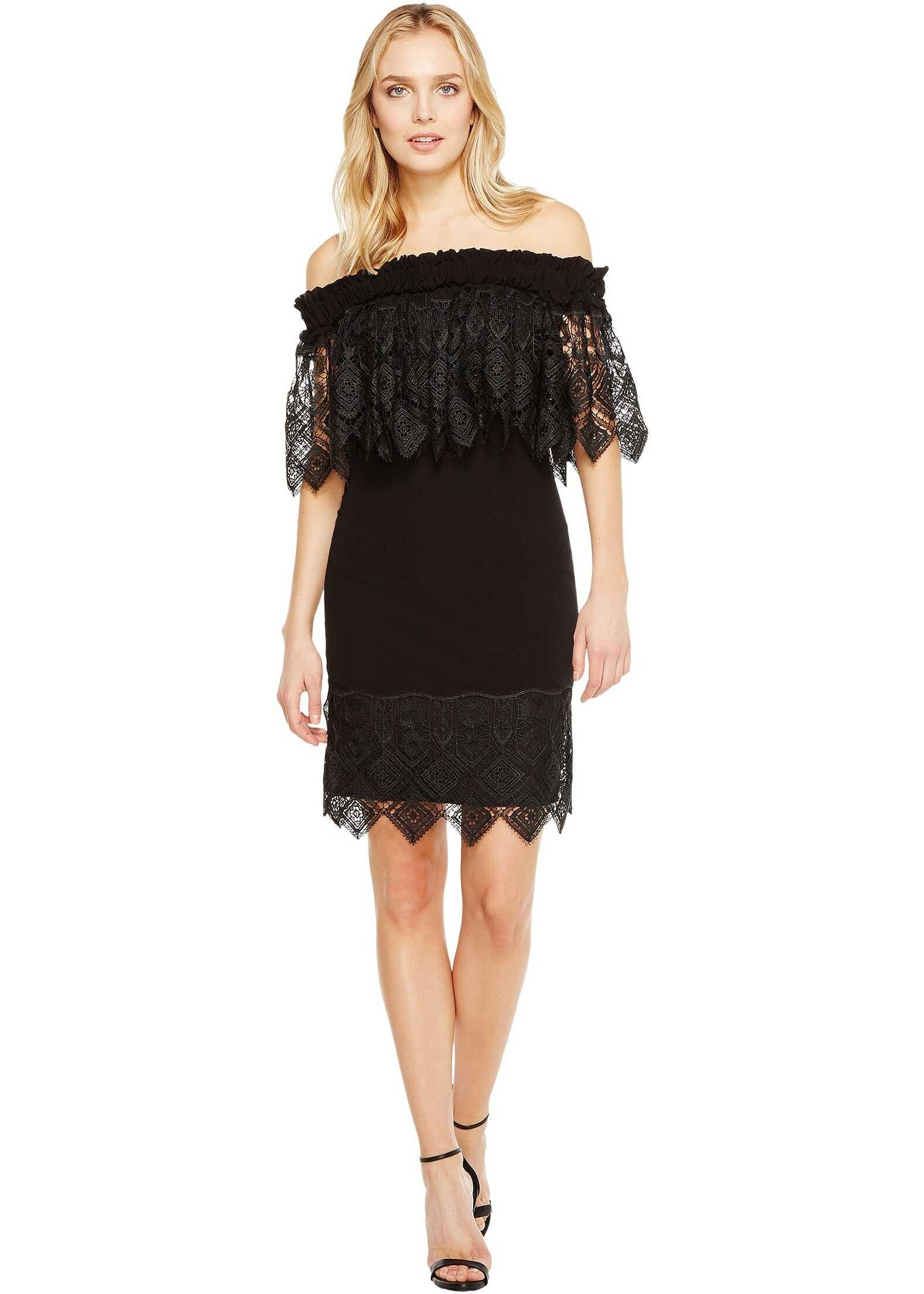 Badgley Mischka Off the Shoulder Silk Dress Trimmed in Lace Black