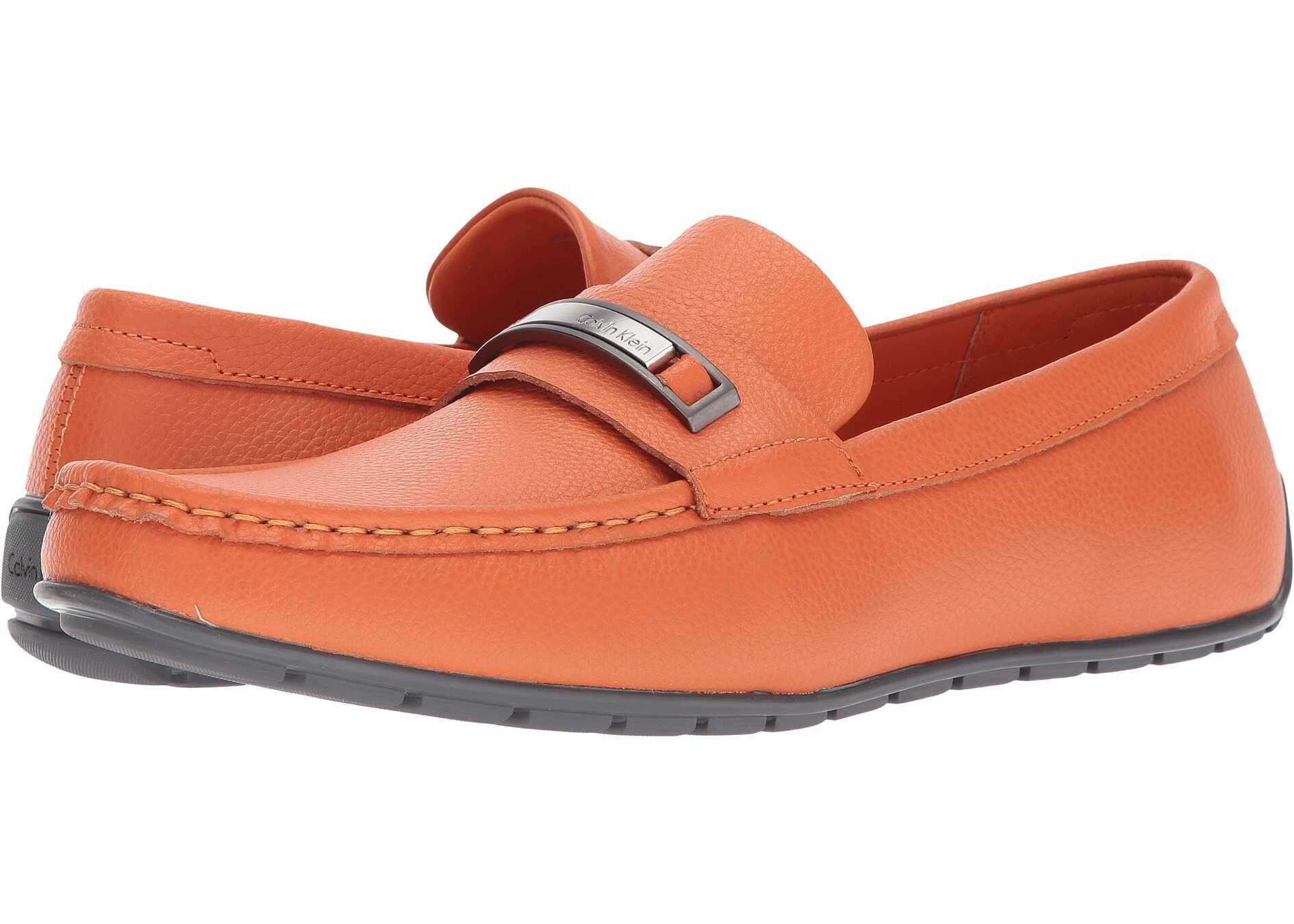 Calvin Klein Irving Safety Orange Tumbled Leather