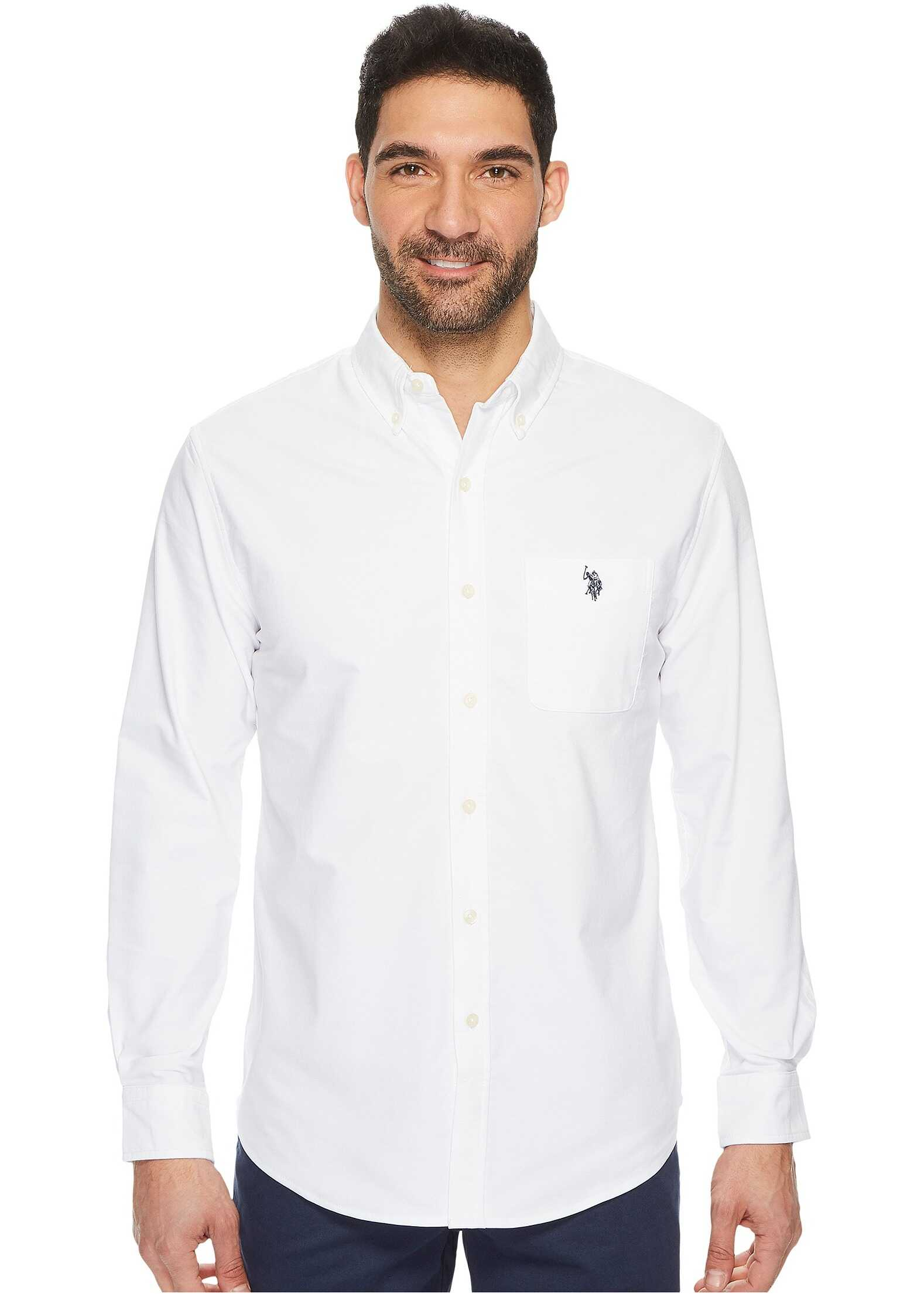 U.S. POLO ASSN. Classic Fit Long Sleeve Sport Shirt Optic White