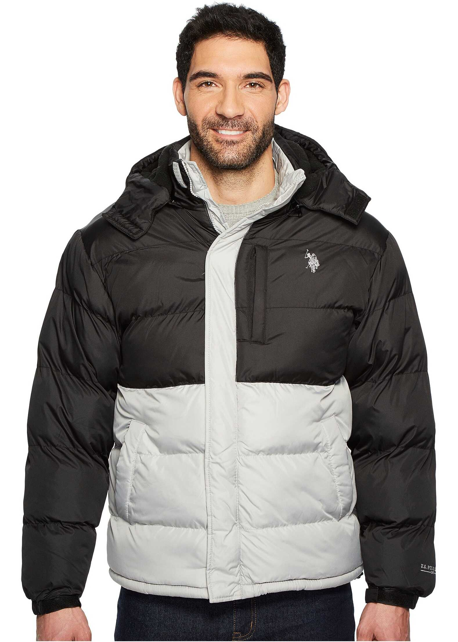 U.S. POLO ASSN. Color Block Short Bubble Jacket Limestone