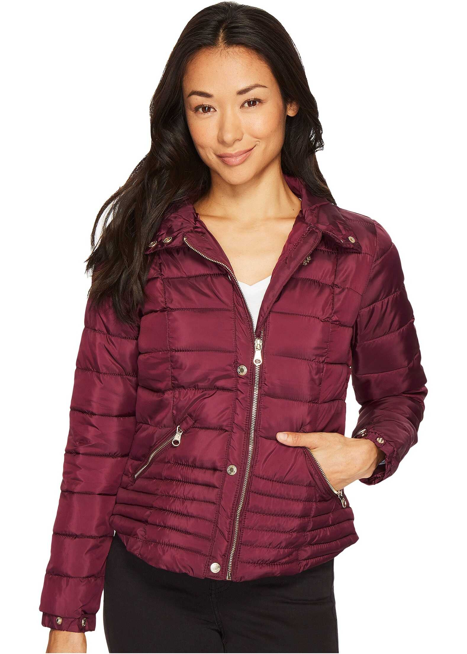 U.S. POLO ASSN. Quilted Moto Puffer Jacket Berry Park