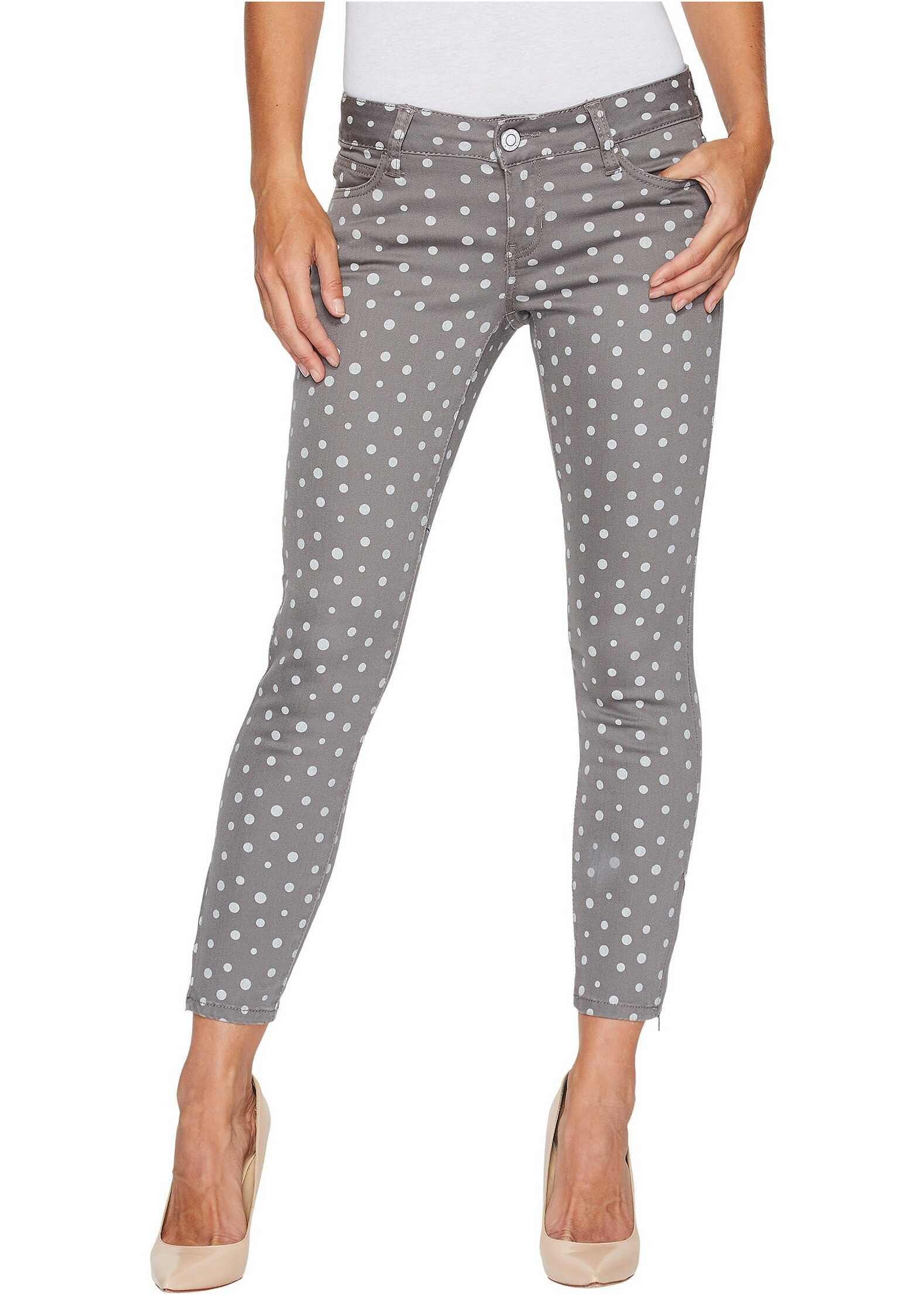 U.S. POLO ASSN. Skinny Ankle Brit Stretch Denim Jeans in Grey/Polka Dot Grey/Polka Dot