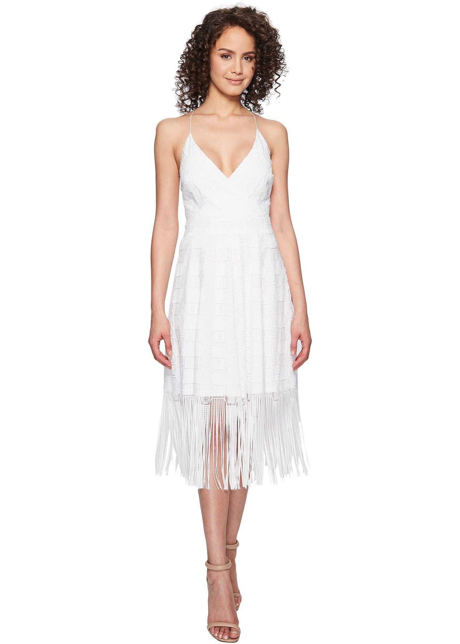 Nicole Miller Elina Burnout Fringe Party Dress White