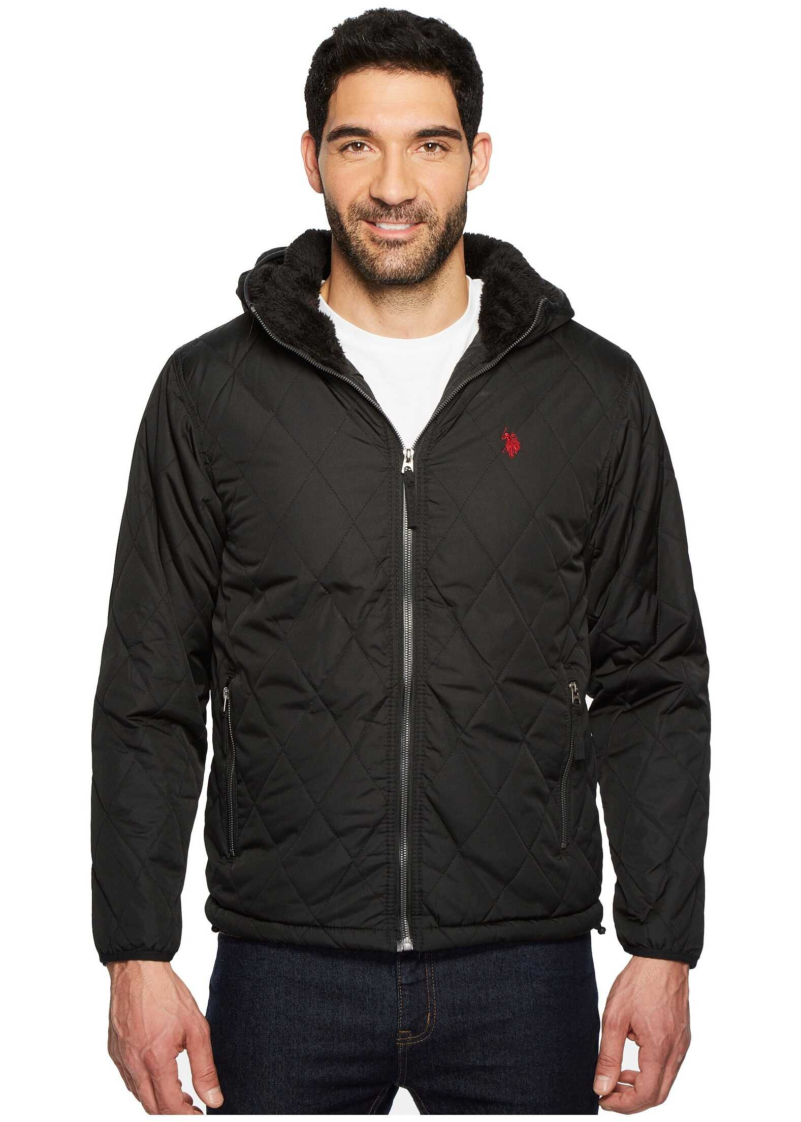 U.S. POLO ASSN. Diamond Quilted Hooded Jacket Black