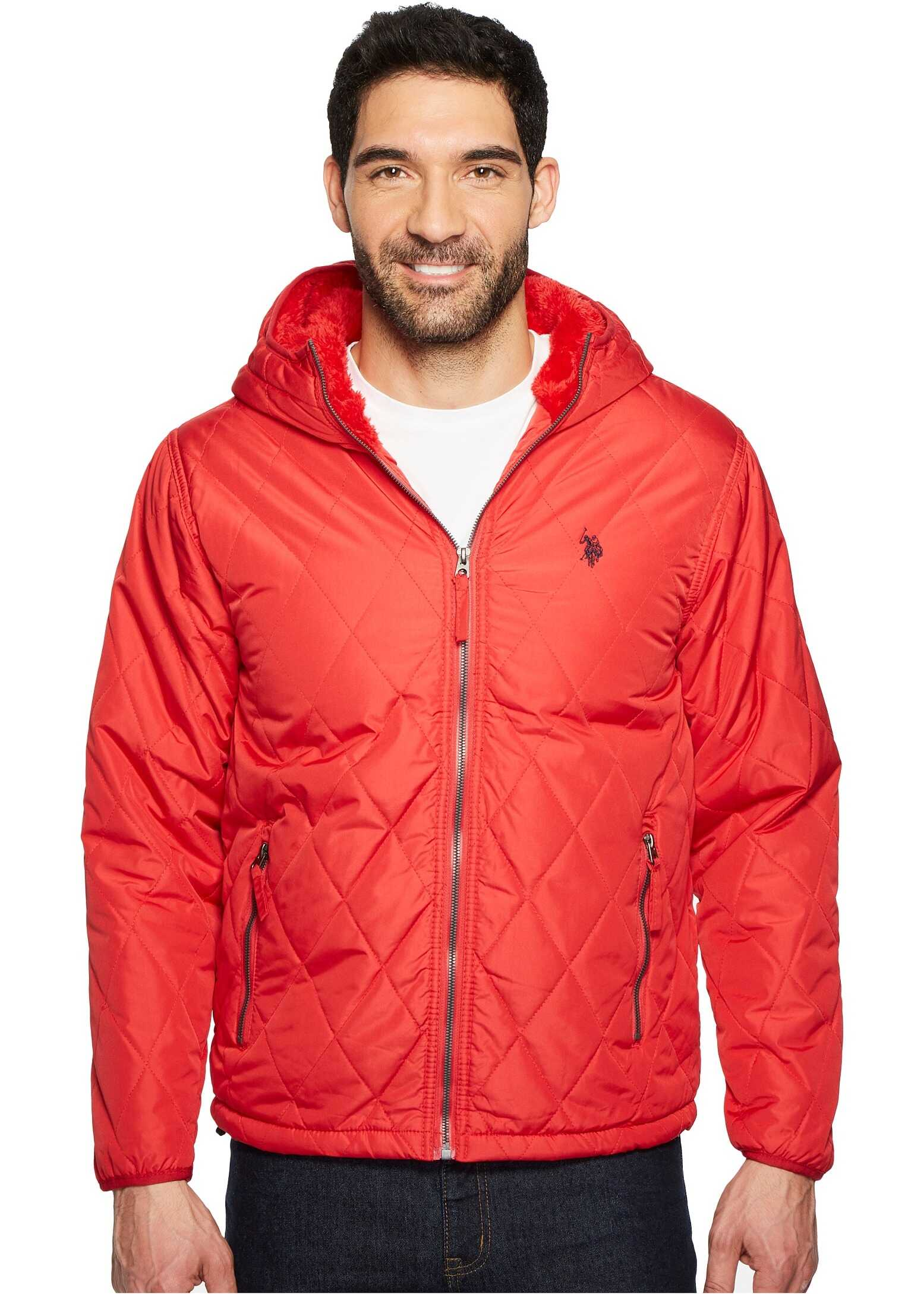 U.S. POLO ASSN. Diamond Quilted Hooded Jacket Chili Pepper