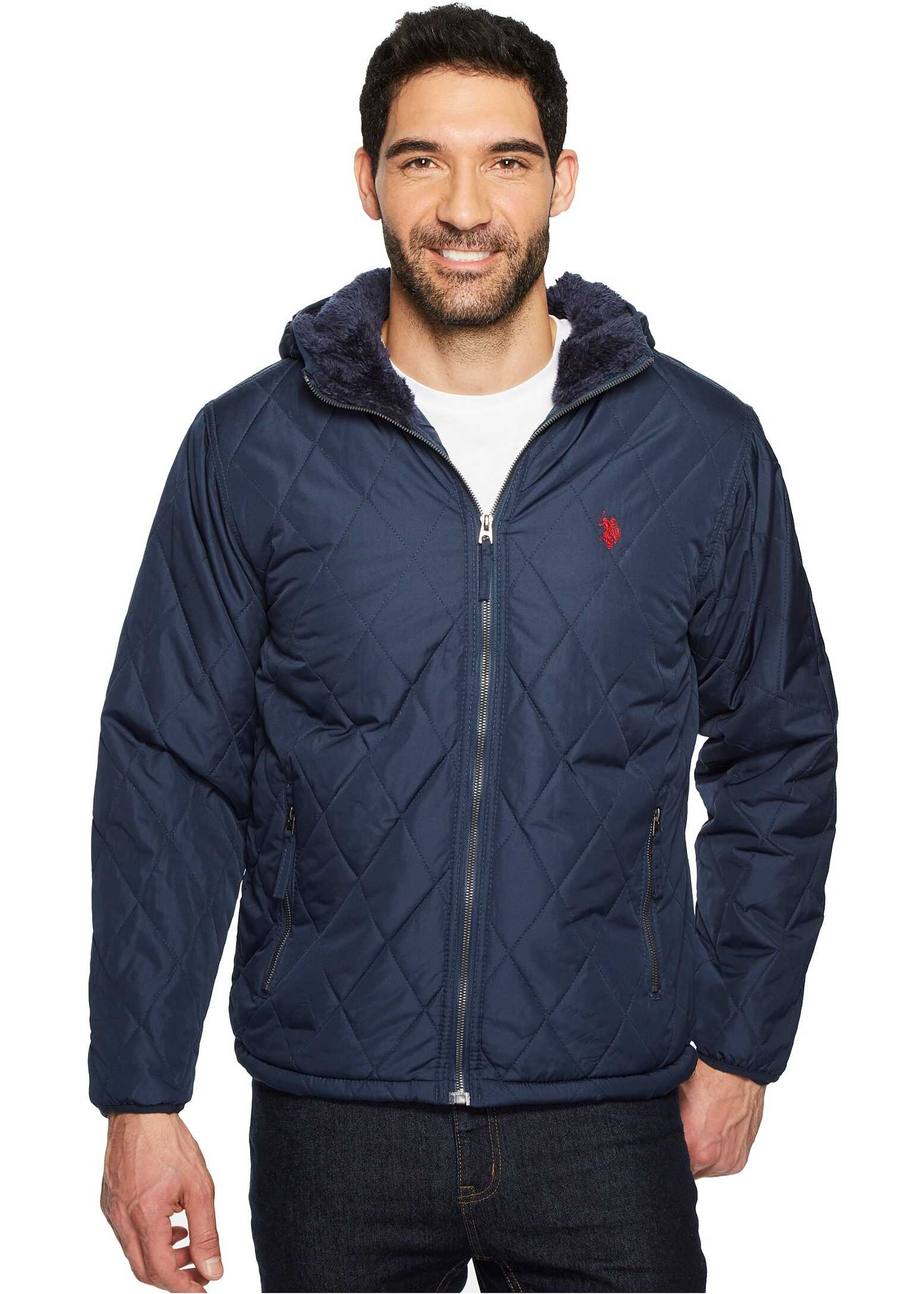 U.S. POLO ASSN. Diamond Quilted Hooded Jacket Classic Navy