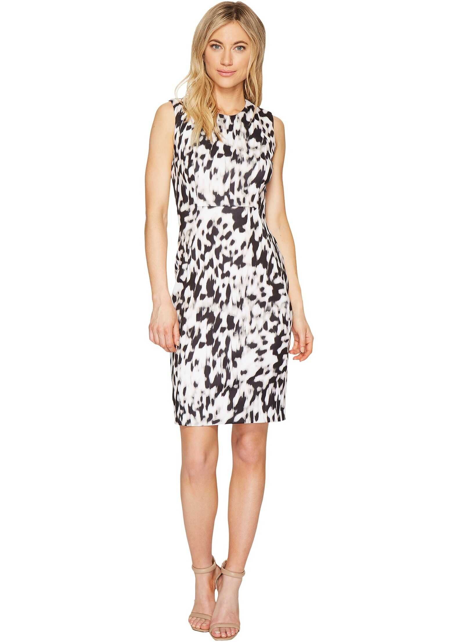 Calvin Klein Printed Sheath Dress Latte/Soft White Combo