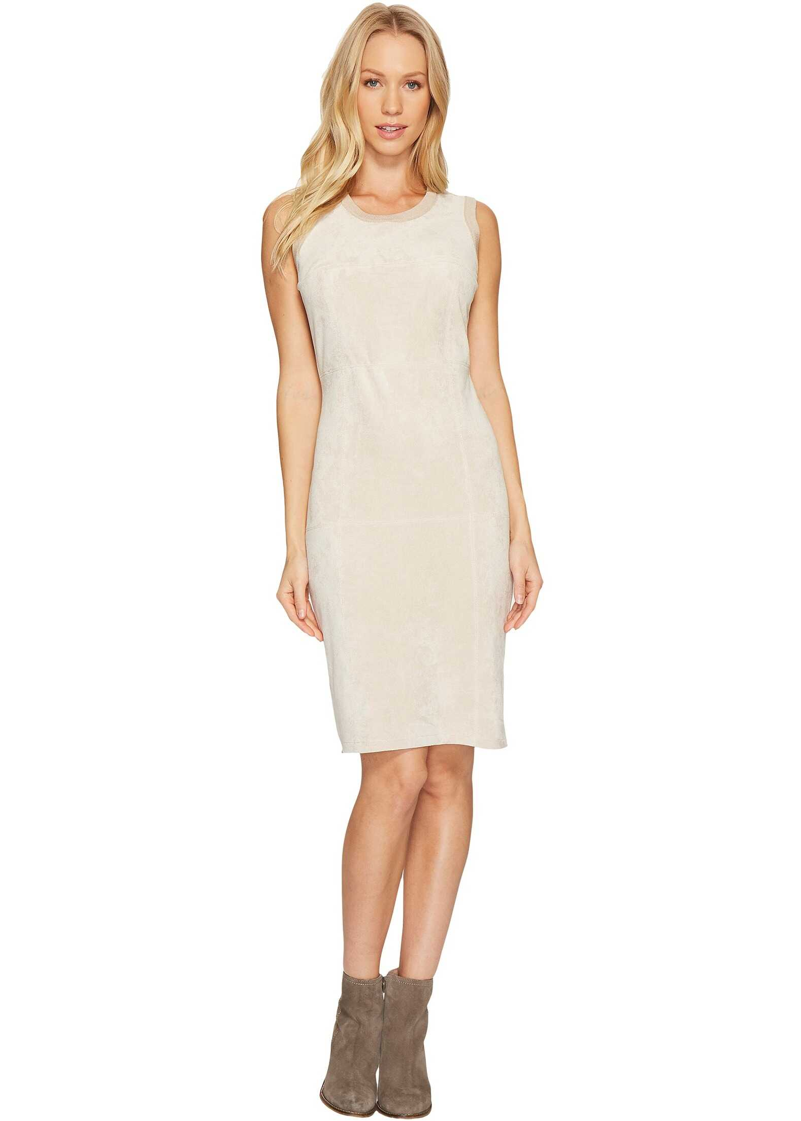 Calvin Klein Sweater Dress with Suede Front Latte