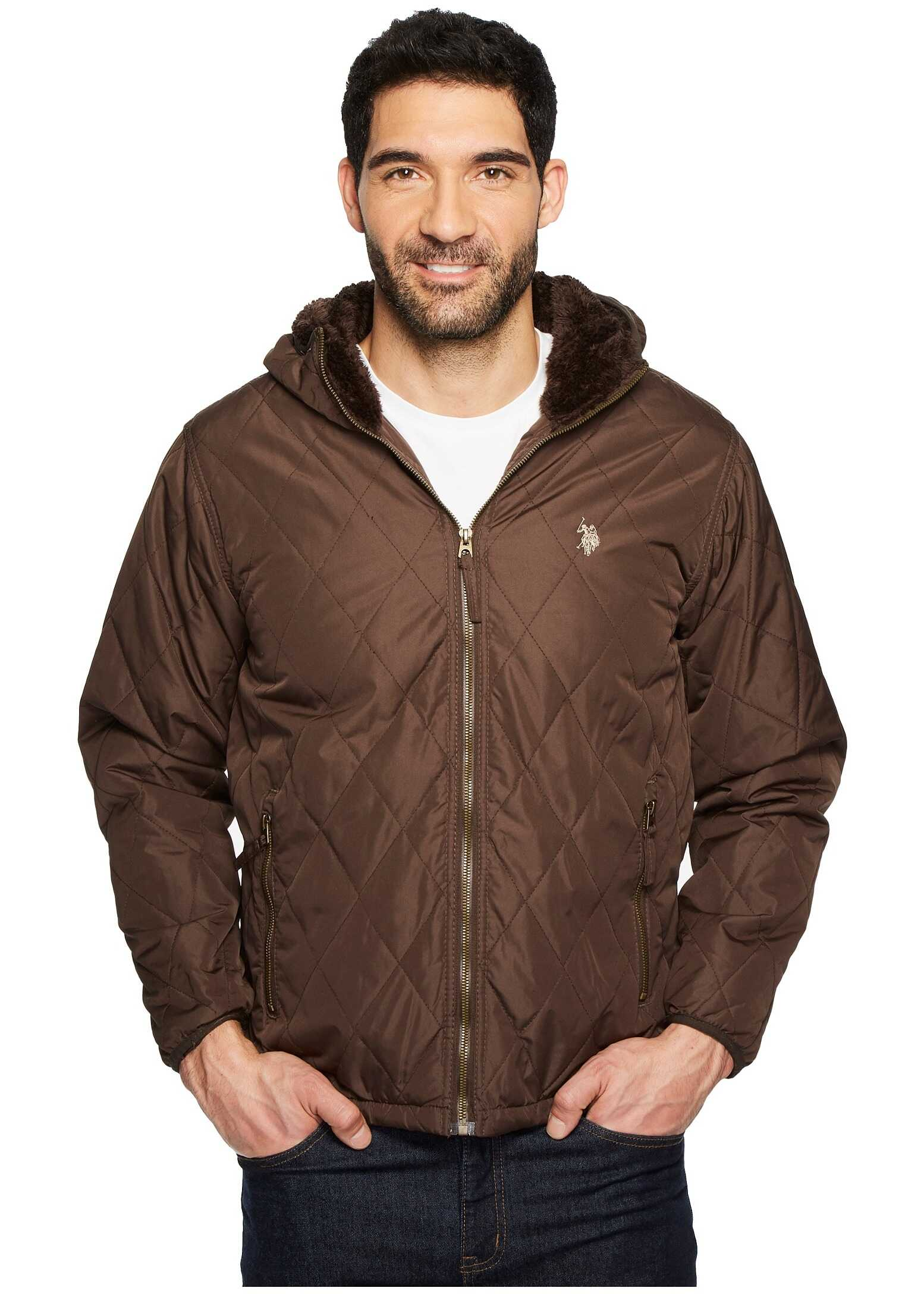 U.S. POLO ASSN. Diamond Quilted Hooded Jacket Dark Brown