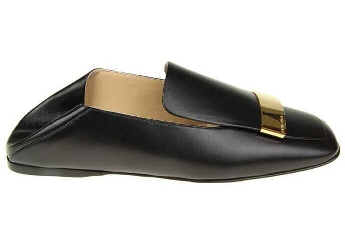 Sergio Rossi Black Leather Sr1 Slippers A77990-MNAN07-1000-170 Black imagine b-mall.ro