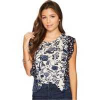 Bluze Mixed Print Ruffle Top Femei