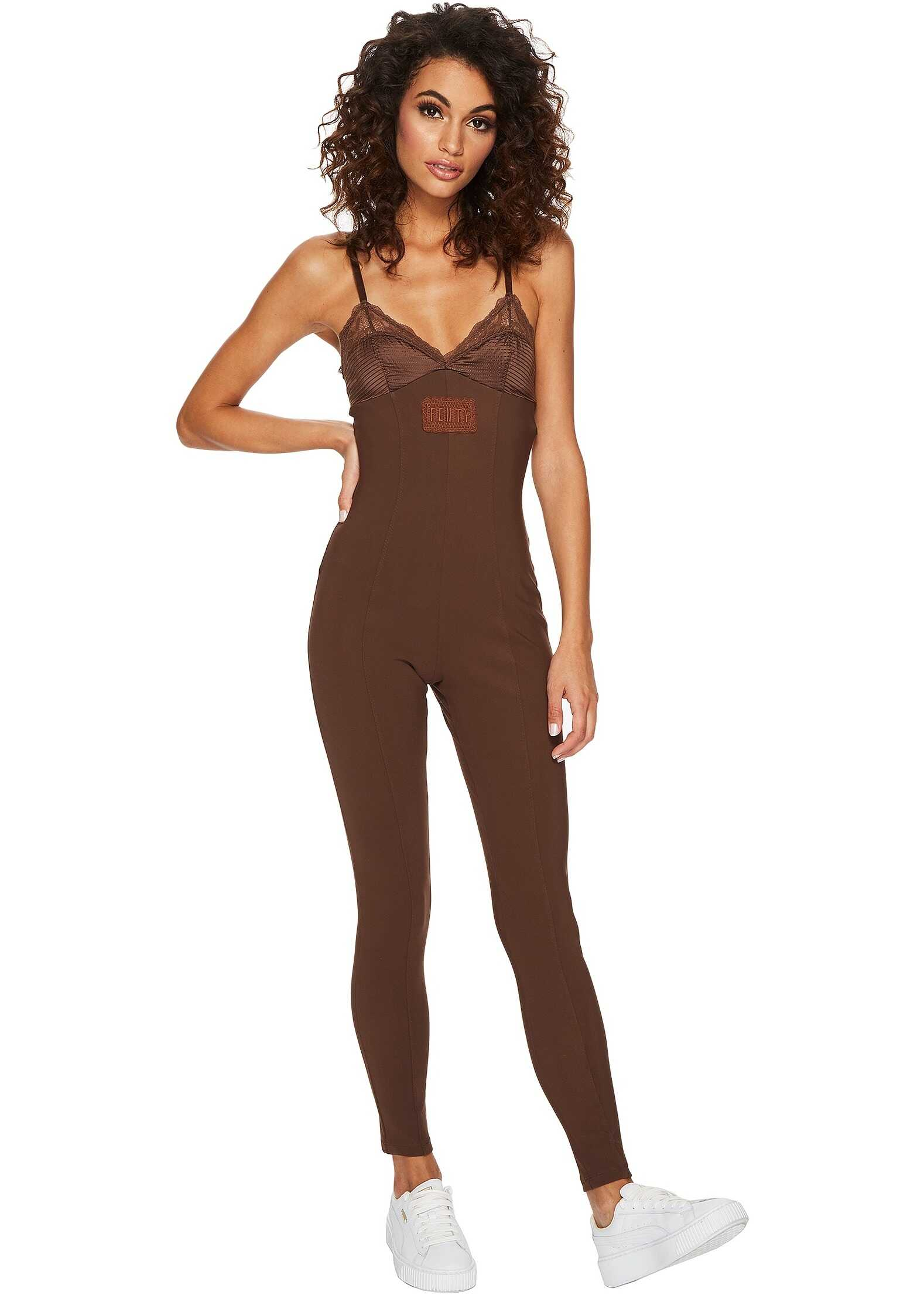 PUMA Fenty® Lace Detail Full Bodysuit Friar Brown