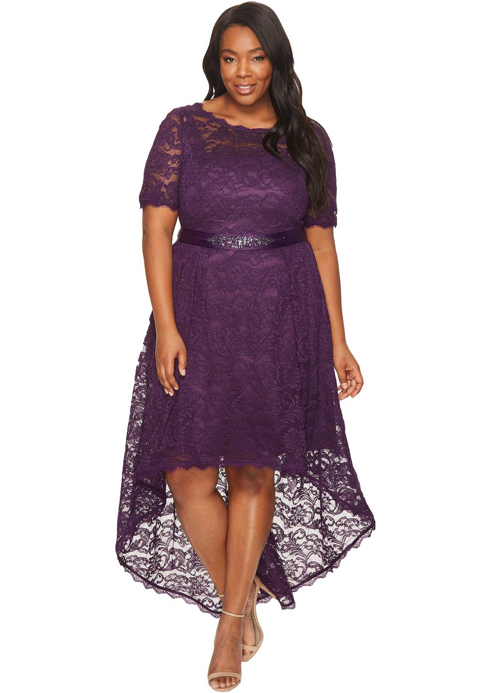 Adrianna Papell Plus Size Short Sleeve Lace Dress with High-Low Hem Night Wine